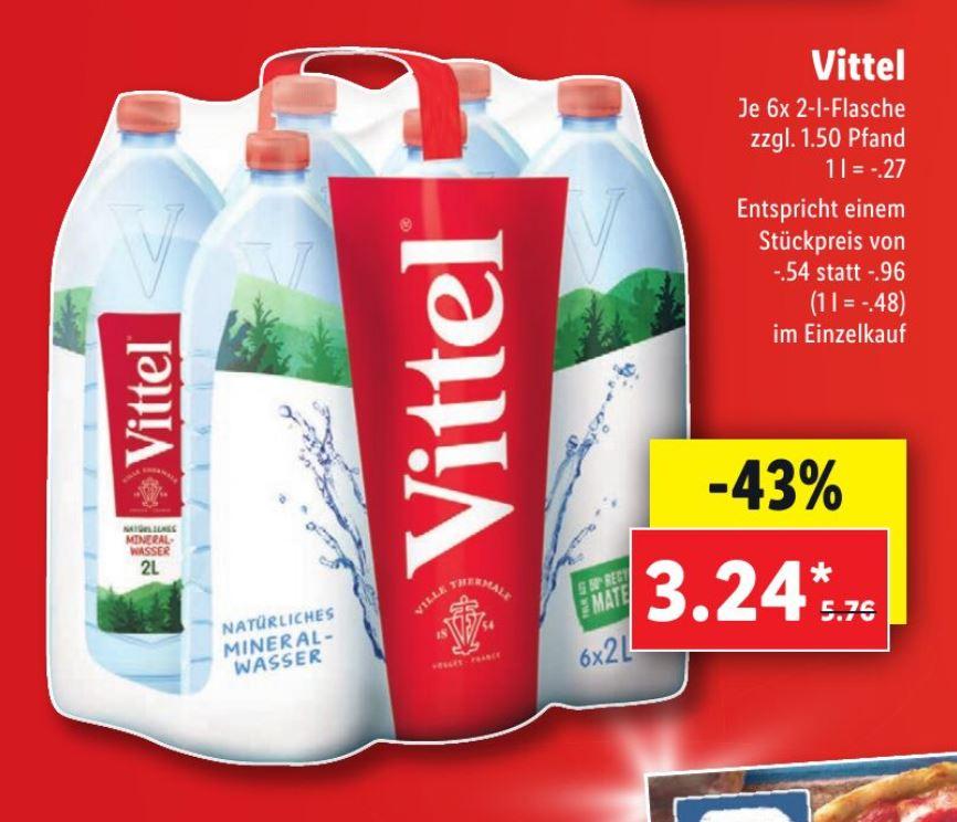 Wasser-Fans aufgepasst: Vittel 6x 2-l-Flasche ab 24.08. bei Lidl