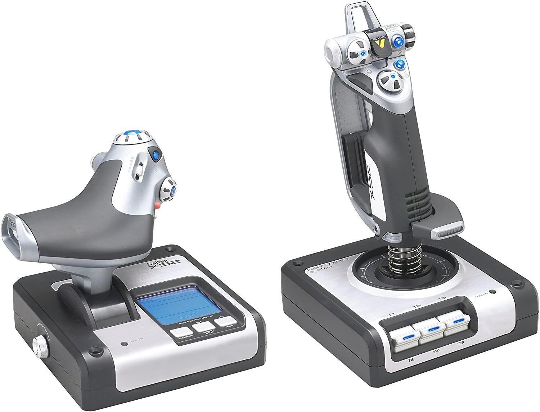Logitech G Saitek X52 Flight Control System - PC Flight-Stick (Schubregler, LCD-Display, Beleuchtete Tasten, 2x USB) [Vorbestellung]