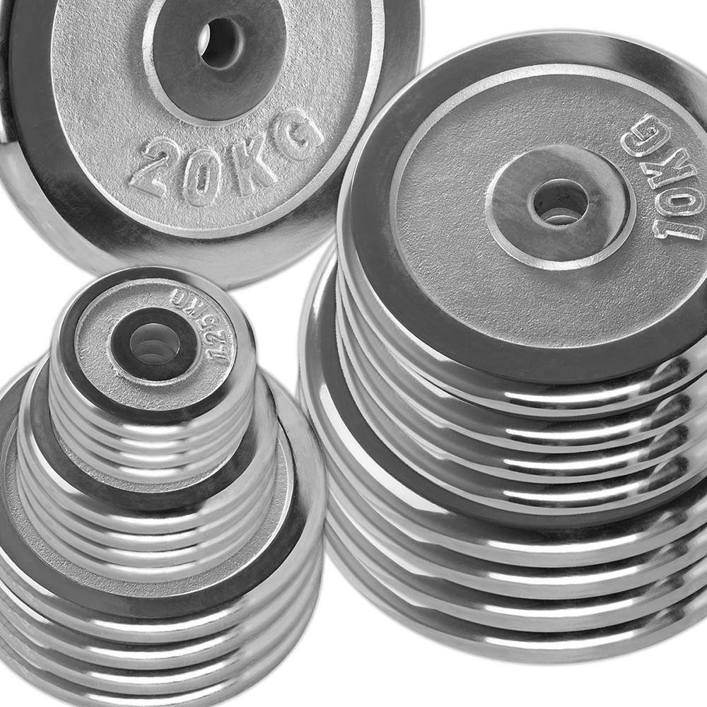 Vorteilspaket 100 kg Chrom Hantelscheiben (5, 15, 20 kg Scheiben)