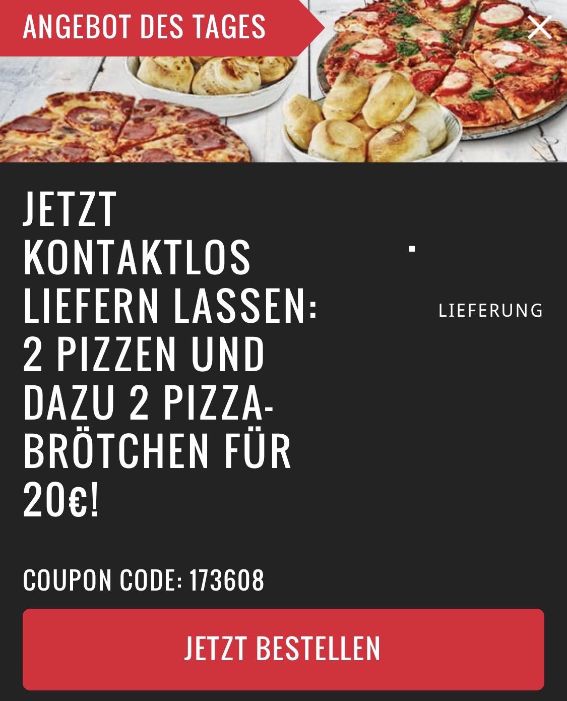 [Lokal] Domino's 2 Pizzen und dazu 2 Pizzabrötchen für 20€