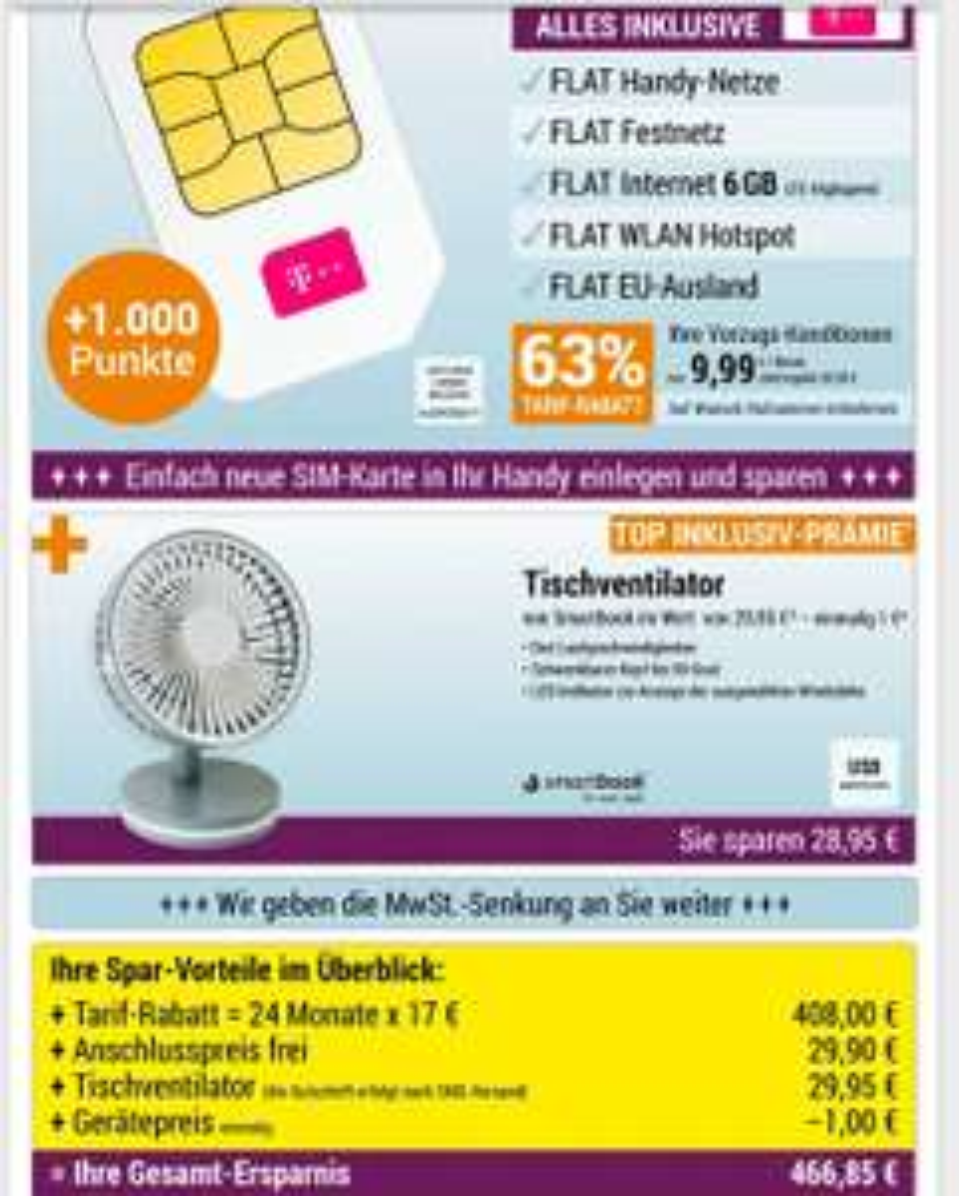 Deutschlandcard App Telekom 6gb LTE WLAN Hotspot flat Allnet flat, EU flat 9.99€ 24 Monate