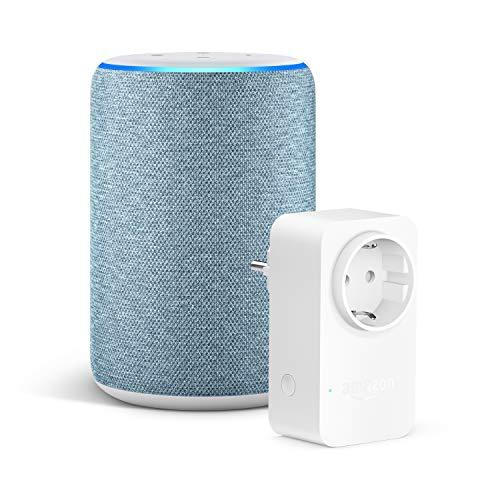 Amazon Echo (3. Gen.), Dunkelblau Stoff + Amazon Smart Plug (WLAN-Steckdose) für 77,99€ (Amazon)