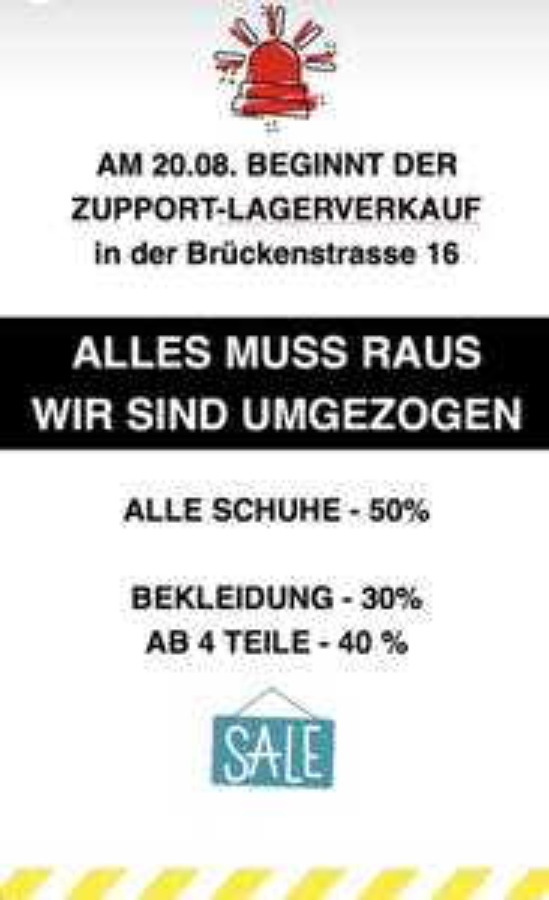 (Lokal) Lagerverkauf wegen Umzug bei ZUPPORT Store in Trier