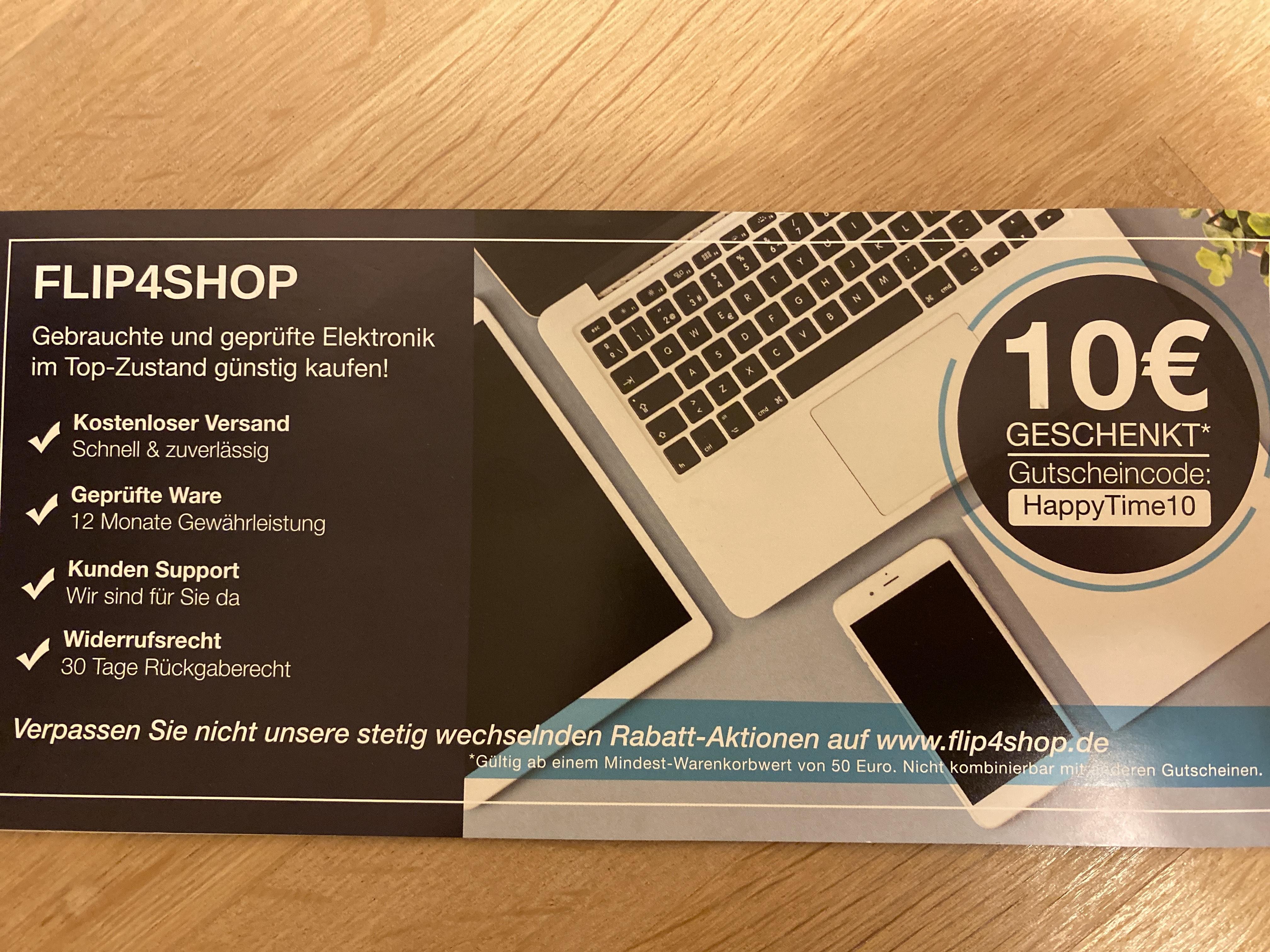 10€ Flip4shop Gutschein MBW 50€ kostenloser Versand