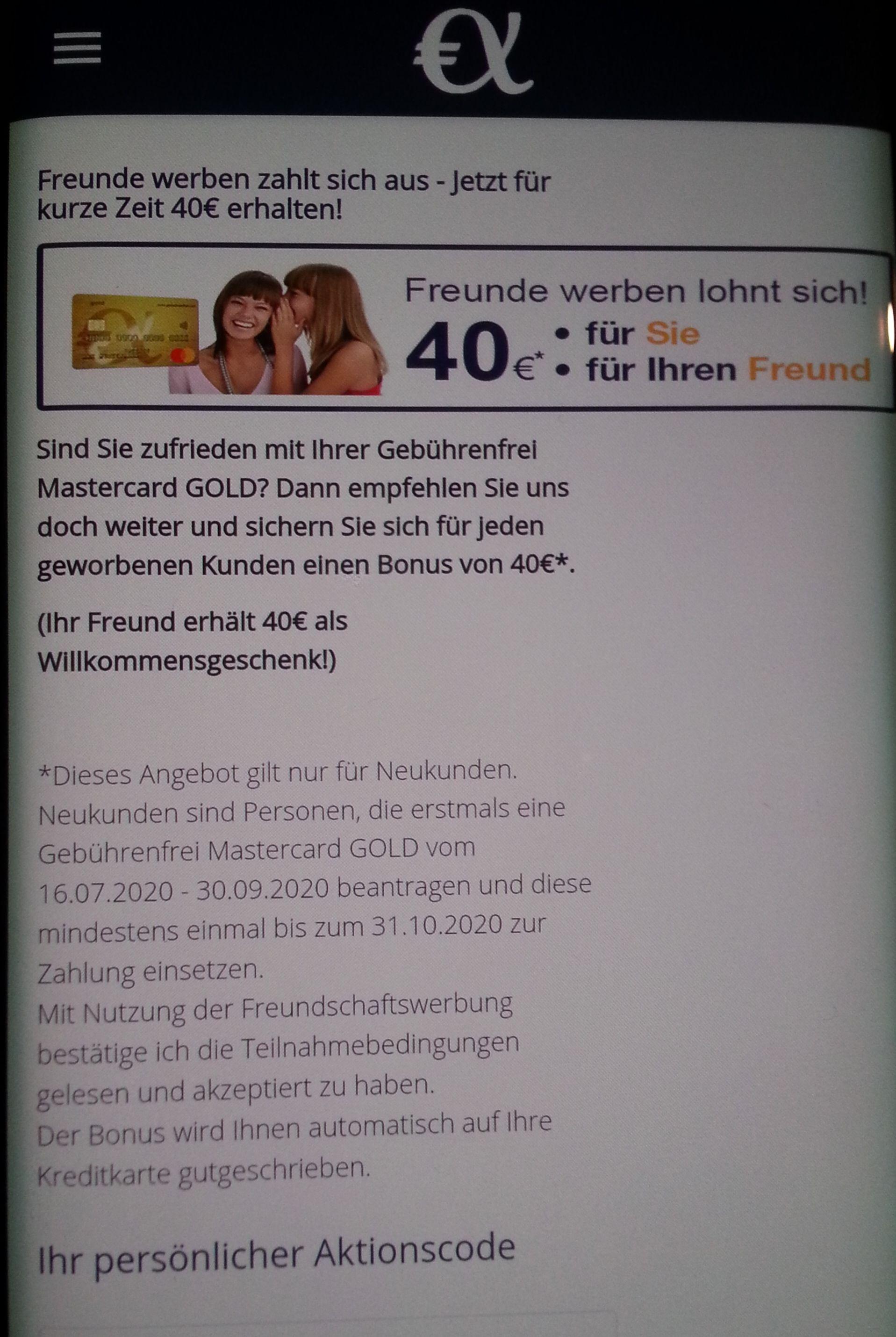 [KWK] 2 x 40€ Neukundenbonus bei Advanzia Gebührenfrei in der App