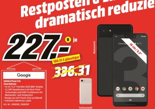 [Regional Mediamarkt Wetzlar] Google Pixel 3 XL 64GB in 2 Farben für je 227,-€