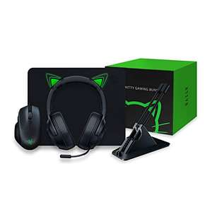 Razer Kitty Gaming Bundle mit Basilisk Essential, Kraken X Lite, Goliathus Mobile Stealth, Mouse Bungee V2 und Kitty Ears, Grün
