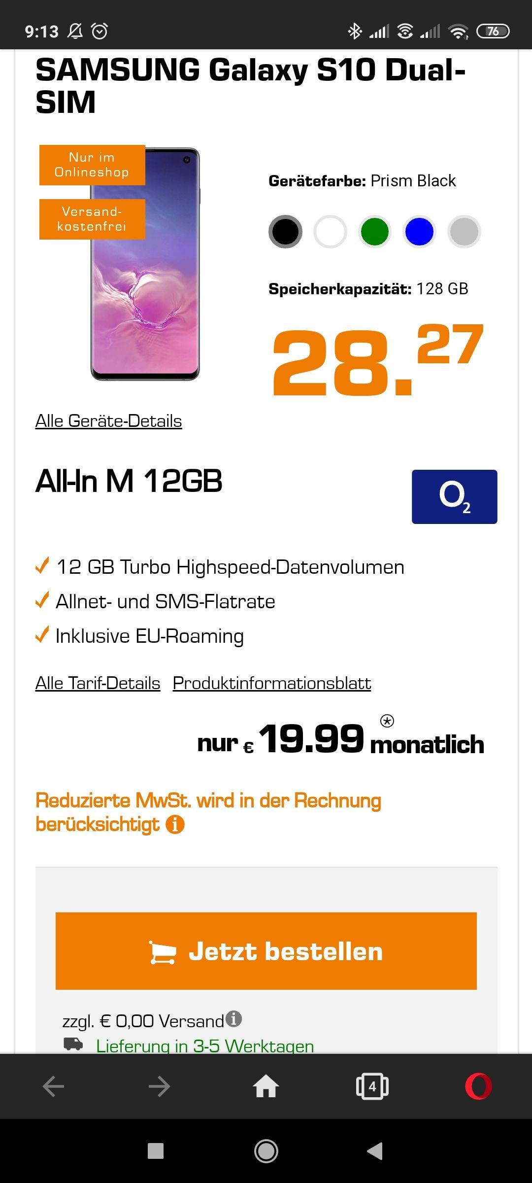 Samsung Galaxy S10 mit 12 GB Allnet (O2 Netz)