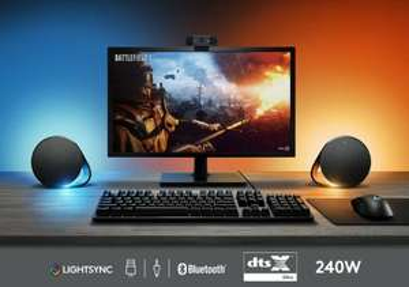 Logitech G560 Lightsync 2.1 Gaming-Lautsprecher-Set (Subwoofer, 240W, Bluetooth, DTS:X Ultra Surround Sound & spielbasierte RGB-Beleuchtung)