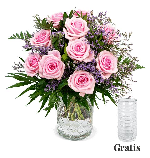 Rosenstrauß 'Frisch Verliebt' inklusive Vase und Versandkosten