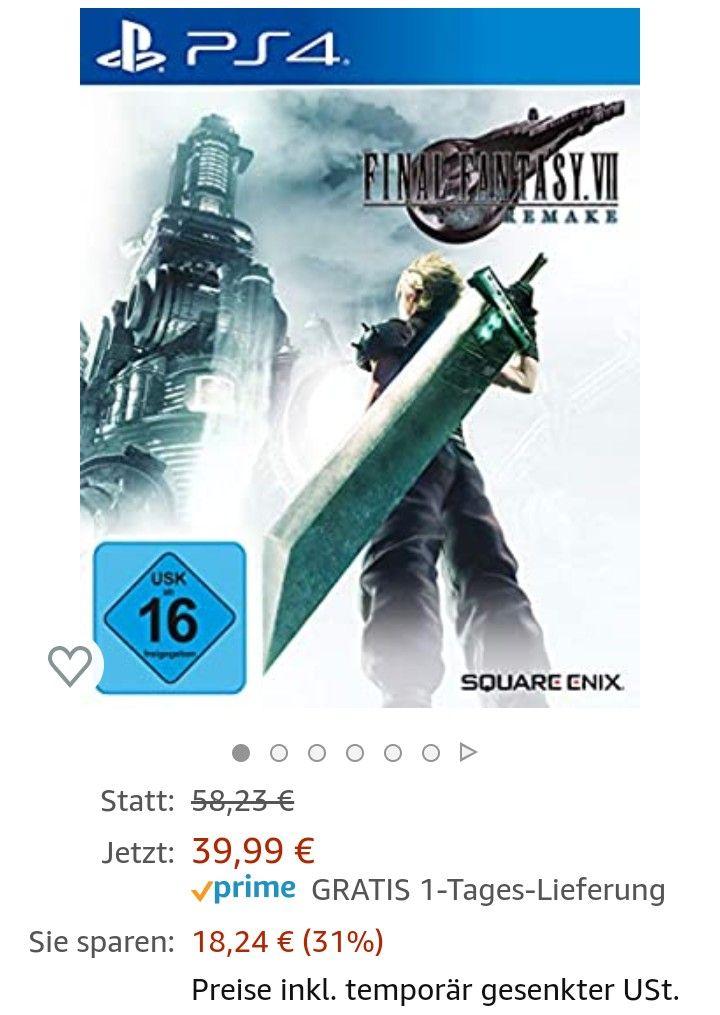 Final Fantasy VII HD Remake (PS 4) Amazon Prime / Saturn & Media Markt zzgl Versand 41,97