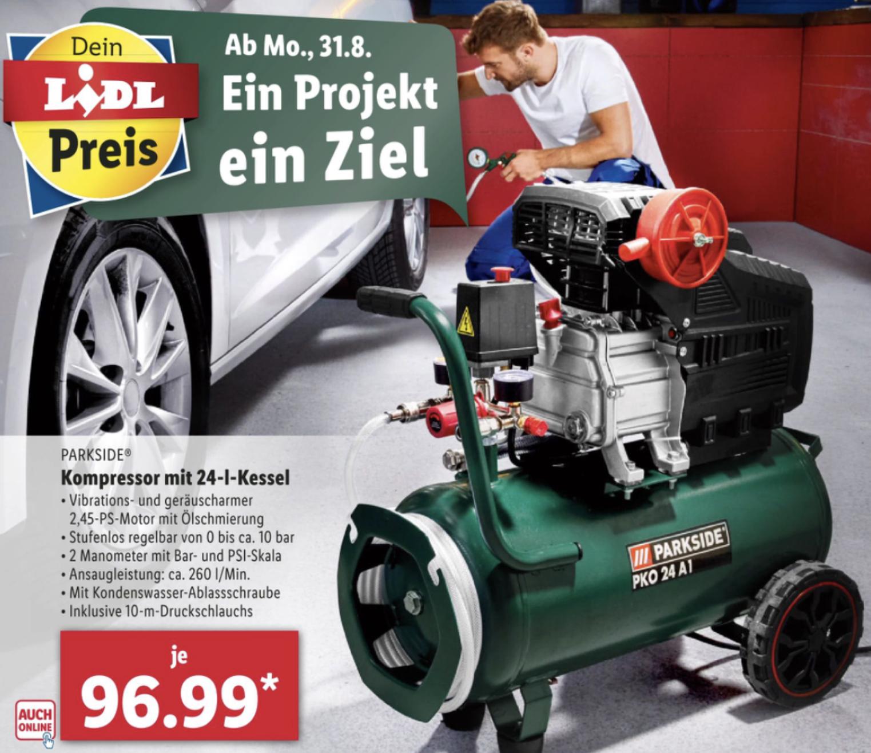 PARKSIDE Kompressor PKO 270 A1 mit 24-Liter-Kessel für 96,99€ / Druckluft-Zubehör-Set 9,69€ / Druckluft-Schlauchtrommel 20m für 19,39€