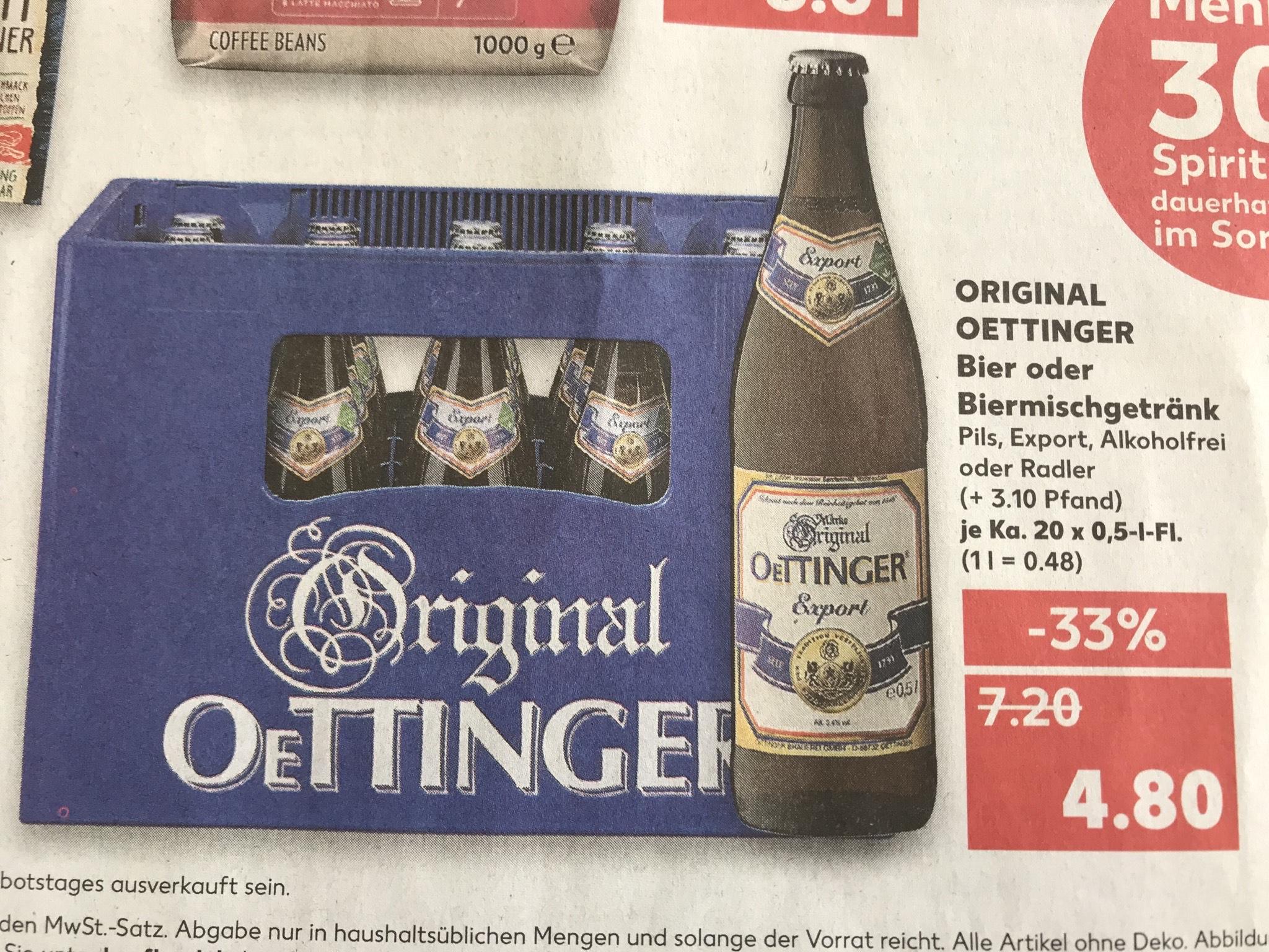 [Lokal Esslingen] Oettinger Bier 20x 0,5 für 4,80 bei Kaufland