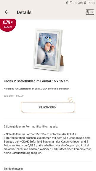 Rossmann App: 2 Kodak Sofortbilder 15x15 gratis