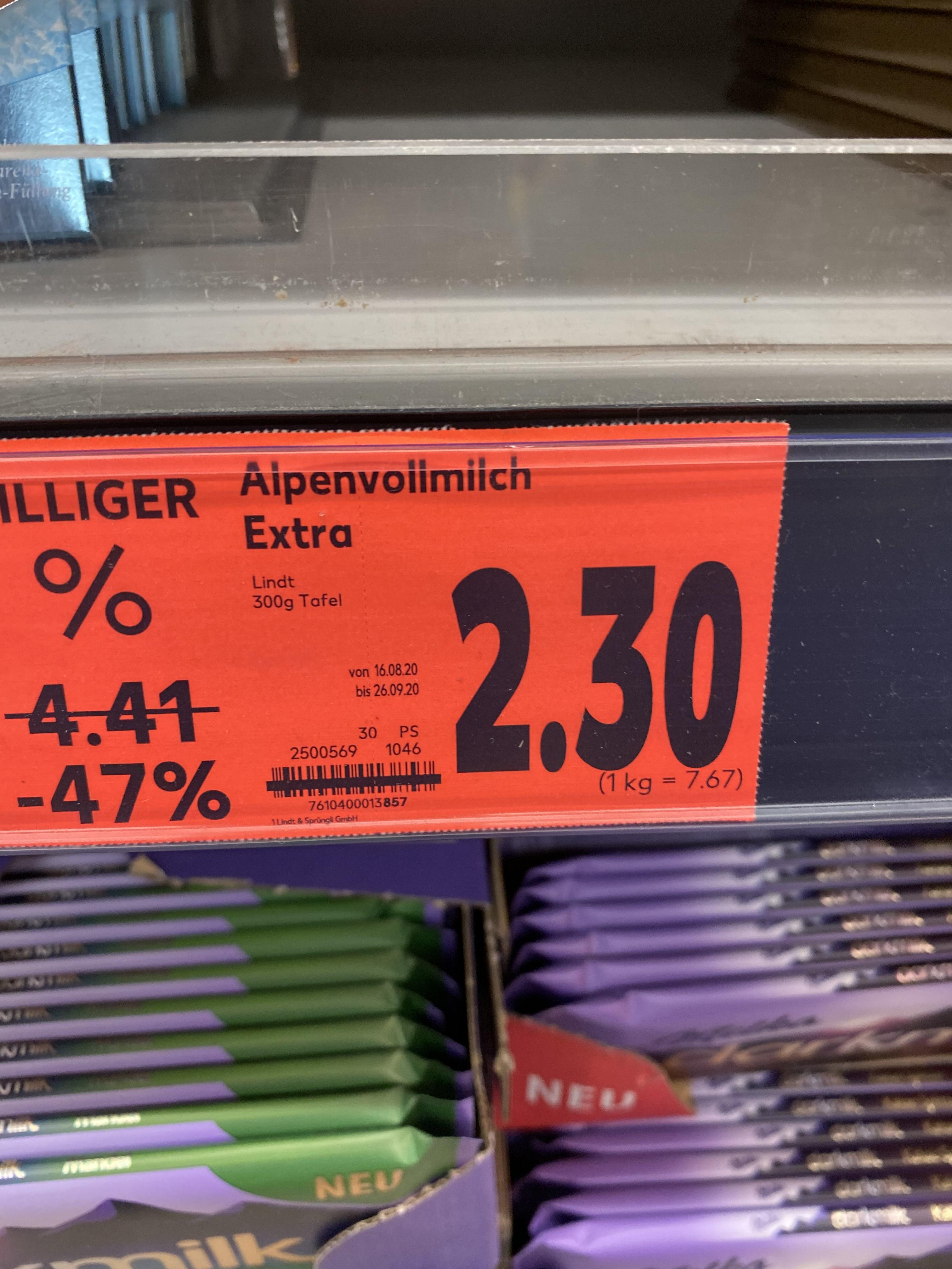 Lindt Alpenvollmich 300g Schokolade Kaufland (evtl. Lokal?)
