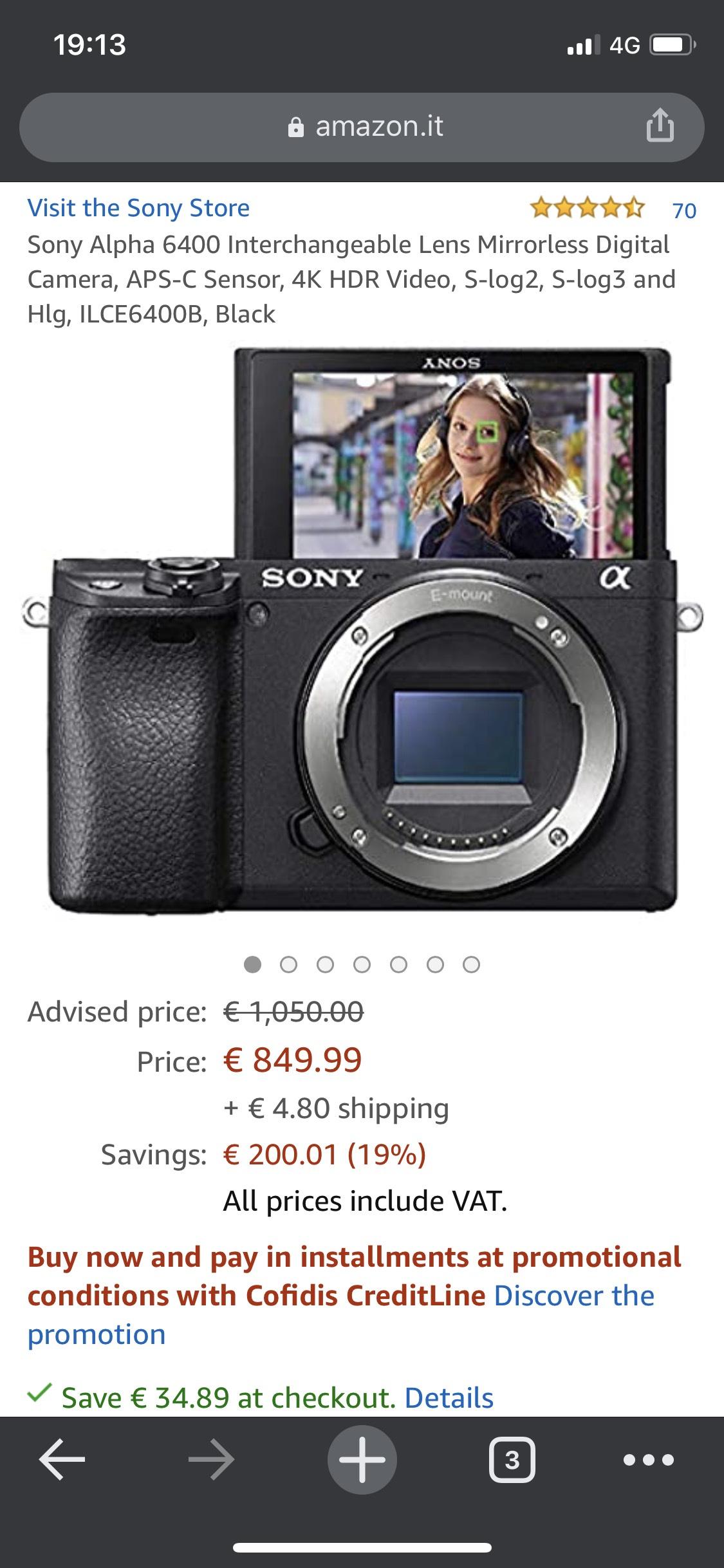Sony a6400 Body amazon.it