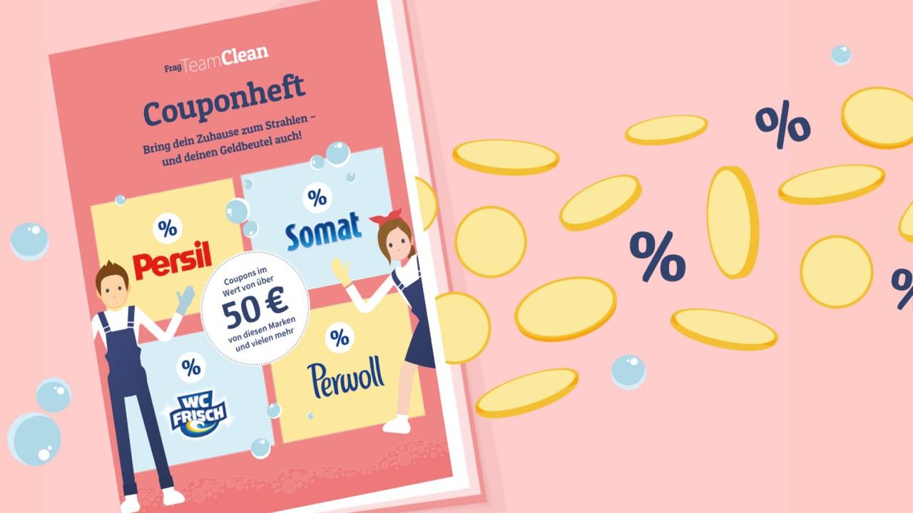 Couponheft von Team Clean im Wert von 50€ (Waschmittel, Weichspüler, Putzmittel, Geschirrspülprodukte)