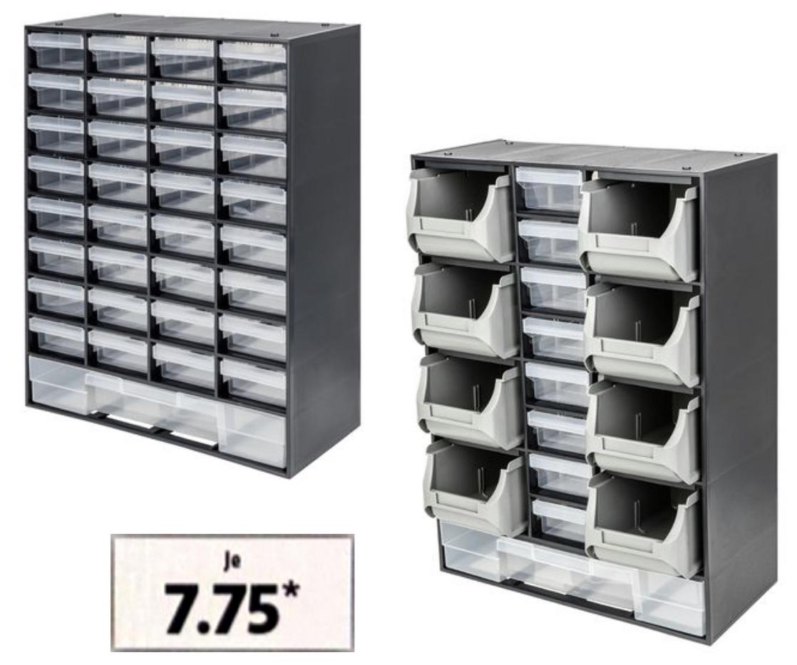POWERFIX Kleinteilemagazin mit 17 oder 33 Ausziehfächern für je 7,75€