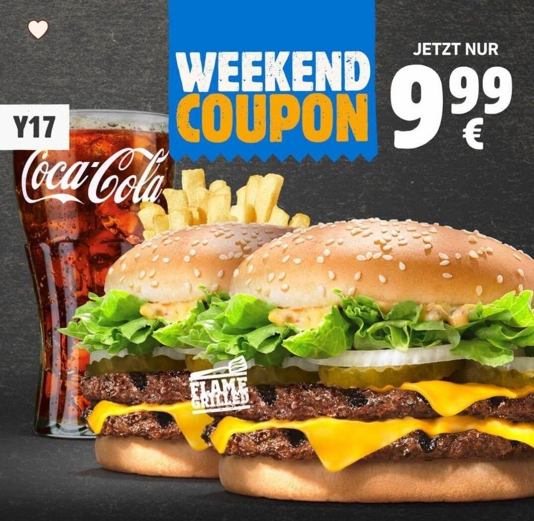 [APP] Geht wieder am Wochenende: Burger King 2* Big King XXL mit Pommes und Getränk