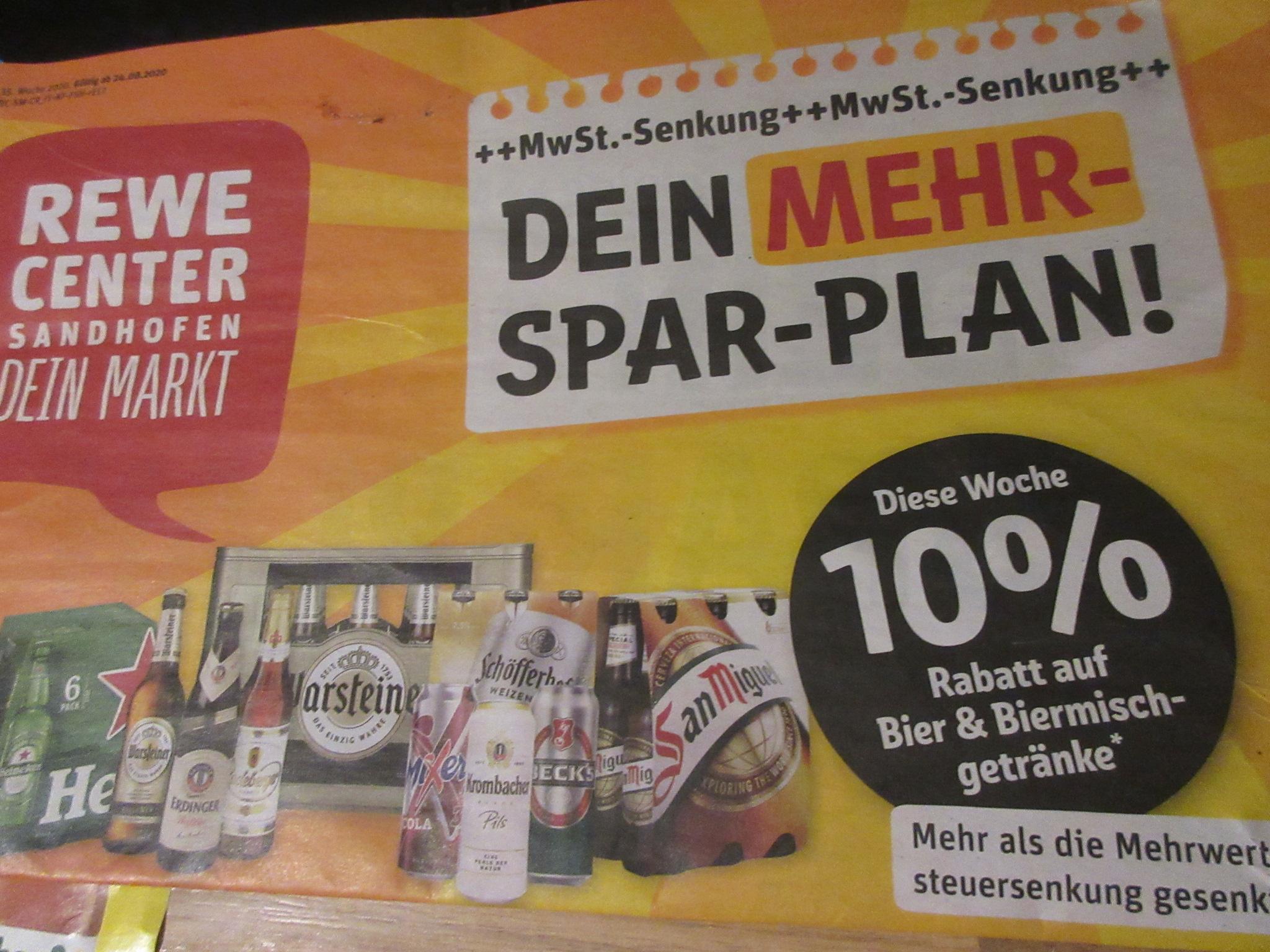 REWE - auf alle Bier und Biermischgetränke -10%