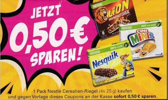 0,50€ Sofort-Rabatt für ein Packung Nestle Cerealien Riegel - gültig bis 31.12.2020