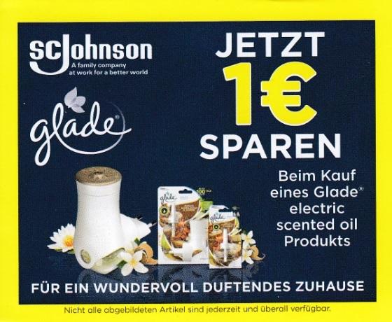 1€ Sofort-Rabatt für glade electric scented oil Produkte - gültig bis 31.01.2021