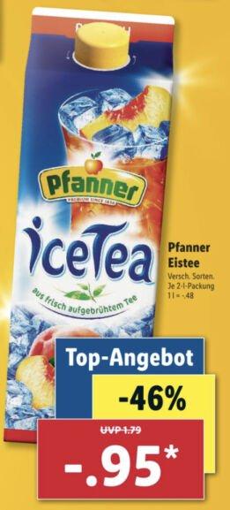 Lidl: Pfanner Eistee 2 Liter versch. Sorten für 0,95€ / Nuss-Frucht-Mischung 200g für 1,68€ / Pepsi, Mirinda usw. 6x0,5l für 1,93€