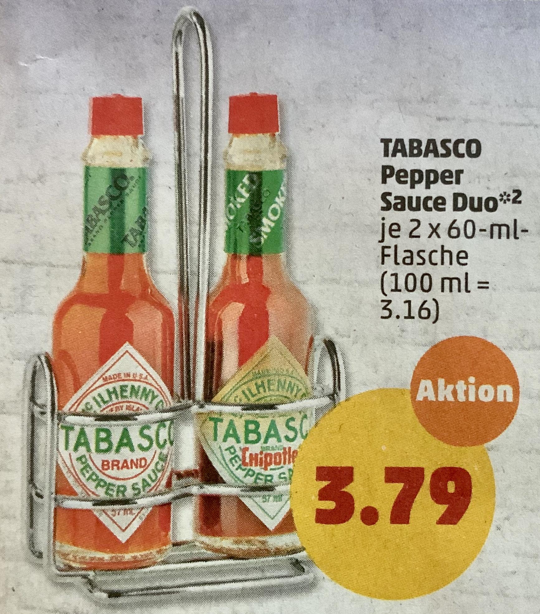 TABASCO Pepper Sauce Duo 2 x 60ml Flasche für zusammen 3,72€