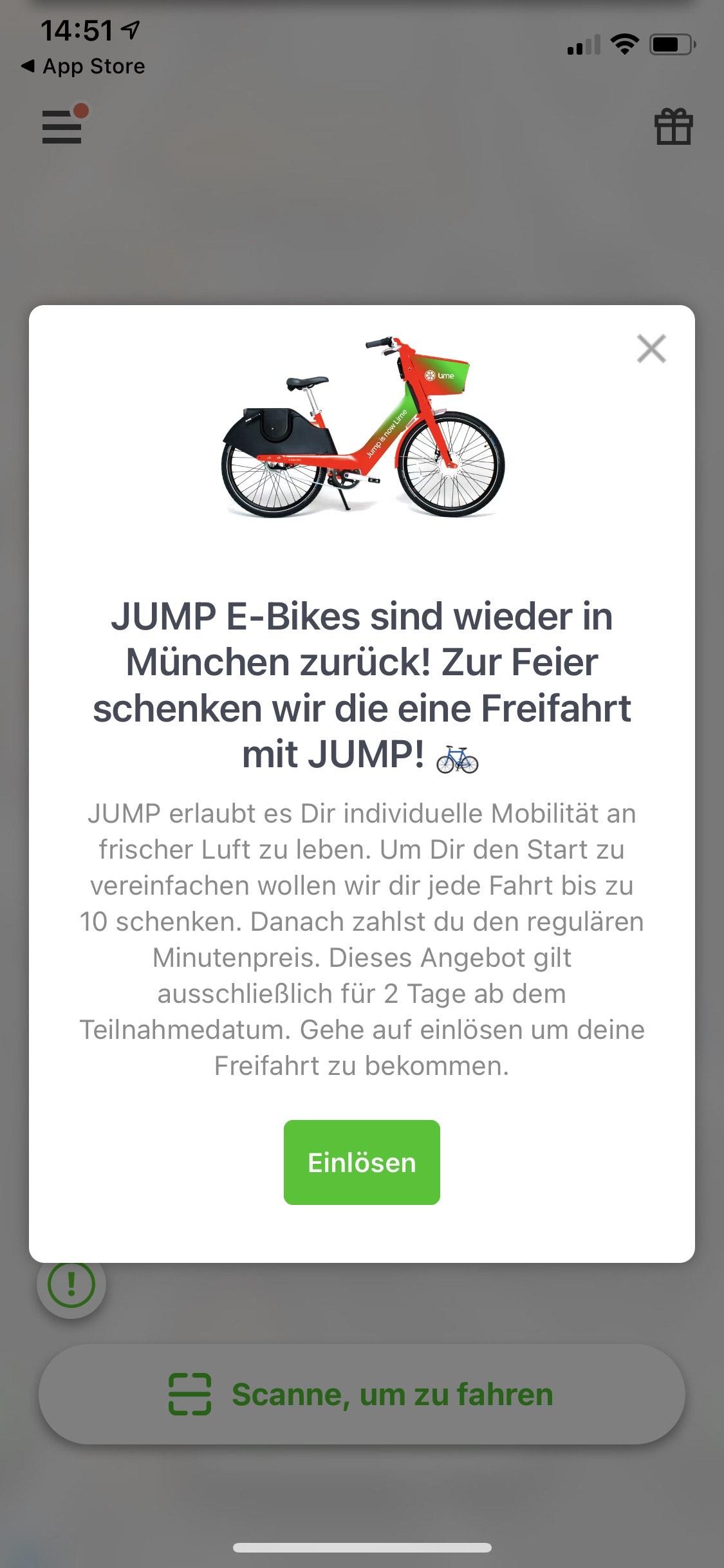 10 Minuten Freifahrt für JUMP Bikes [München]
