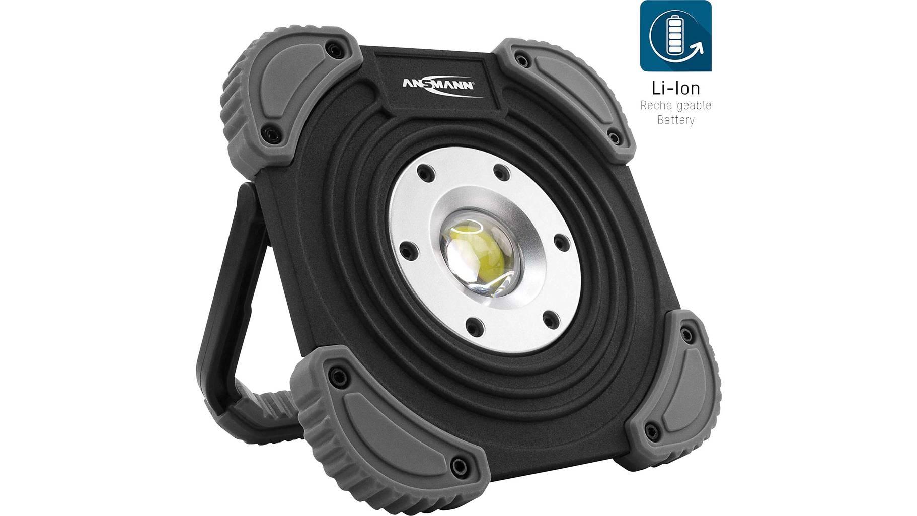 Ansmann LED Baustrahler mit Akku 2000 Lumen & 20W - aufladbare Arbeitsleuchte flexibel & dimmbar IP64