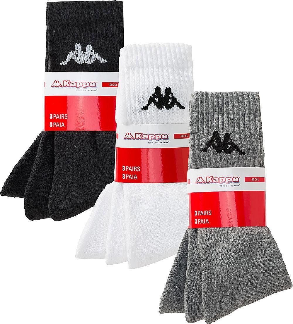Kappa Sportsocken 9er Pack in grau, weiß oder gemischt | Größe 39-42/43-46 | Ab 40€ MBW nur 7,49€