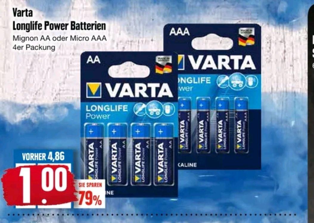 Varta Longlife Power (blau) 4 x AA oder 4 x AAA Batterien für 1,- Euro [Edeka Nord]