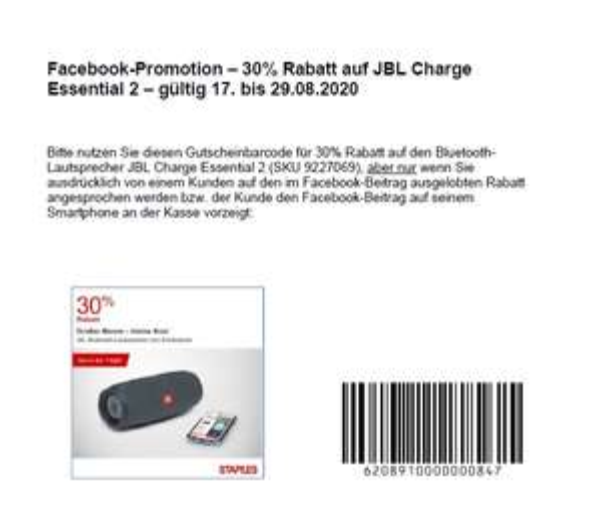 "JBL CHARGE ESSENTIAL - 30% (104,99€ statt 149,99€). STAPLES OFFLINE"""