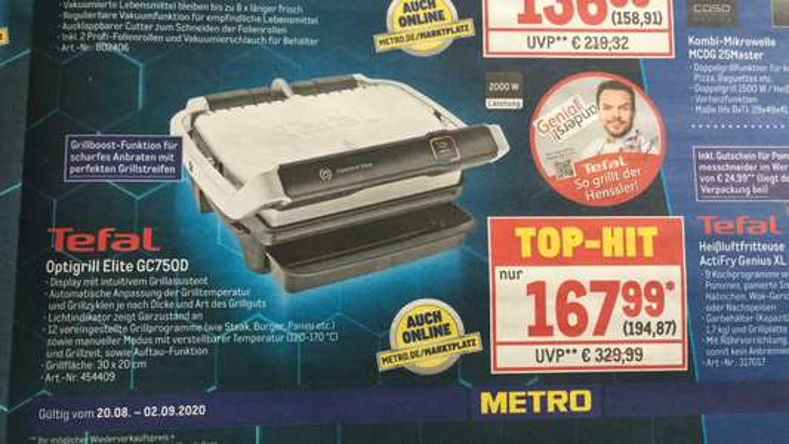 Tefal Optigrill Elite (GC 750D) // ohne Metrocard buchbar!
