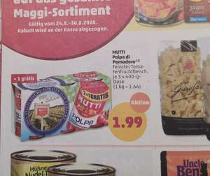 Penny: 3er Pack Tomaten Mutti Polpa für 1,99€ (Lokal Freiburg)