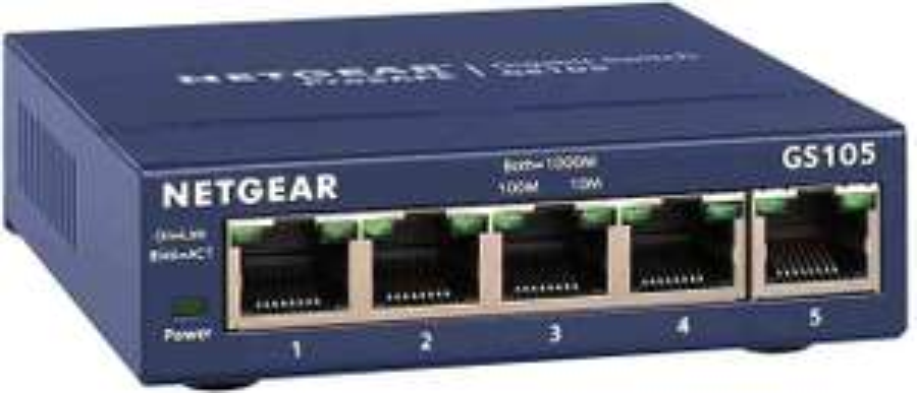 NETGEAR GS105GE 5 Port Gigabit Ethernet LAN Switch (Netzwerk Switch, Plug-and-Play LAN Verteiler, Hub [Amazon Prime]