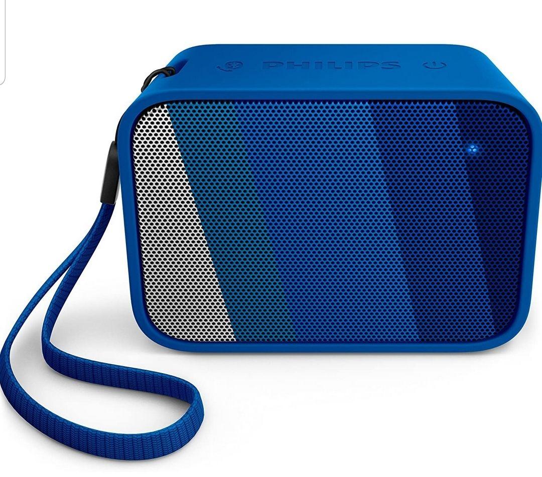 Philips BT110A PixelPop tragbarer Mini Bluetooth-Lautsprecher (Spritzwassergeschützt, 8 Std Akku) blau