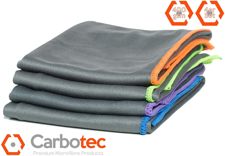 [AMAZON] CARBOTEC® 4X Premium Carbon Microfaser 50x40cm fusselfreie, streifenfreie Putztuch/Waffeltuch