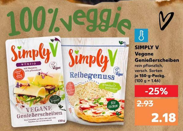 Simply V - Vegane Genießerscheiben / Reibegenuss 150g Packung ab 27.08. für nur 2,18€ [KAUFLAND]