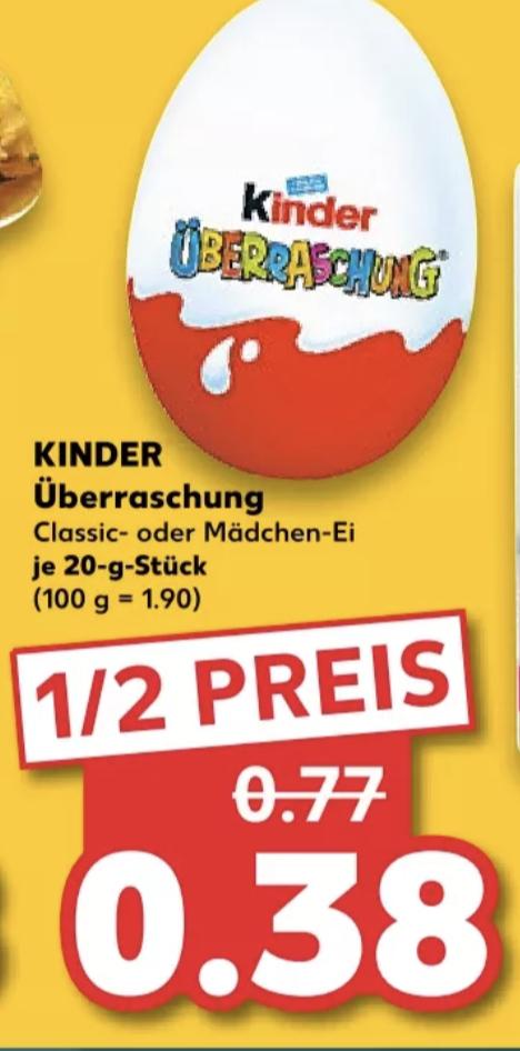 Kinder Überraschung für je 0,38€ [Kaufland]