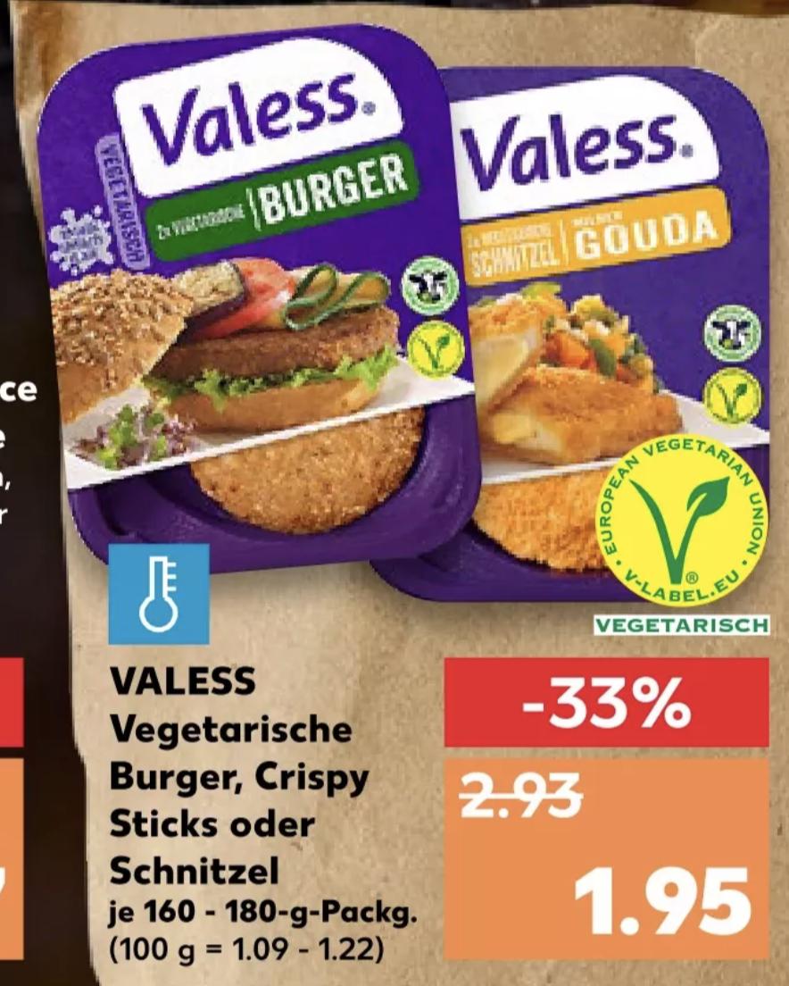 Valess Vegetarische Burger, Schnitzel o. Crispy Stricks für je 1,25€ (mit Coupon) [Kaufland]