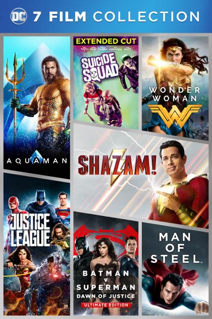 DC 7-Film Collection (Man of Steel, Batman vs. Superman, Suicide Squad, Wonder Woman, Justice League, Aquaman, Shazam!) 4K-STREAM KAUFFILME