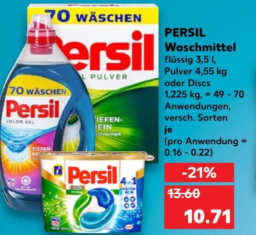 [Kaufland Do-Mi] 2x Persil Waschmittel 49/70 Anwendungen (flüssig,Pulver oder Pods)mit Coupon für 18,42€