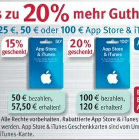 [Rossmann] Bis zu 20% extra Guthaben für Apple AppStore & iTunes Geschenkkarten - ab 31.08.