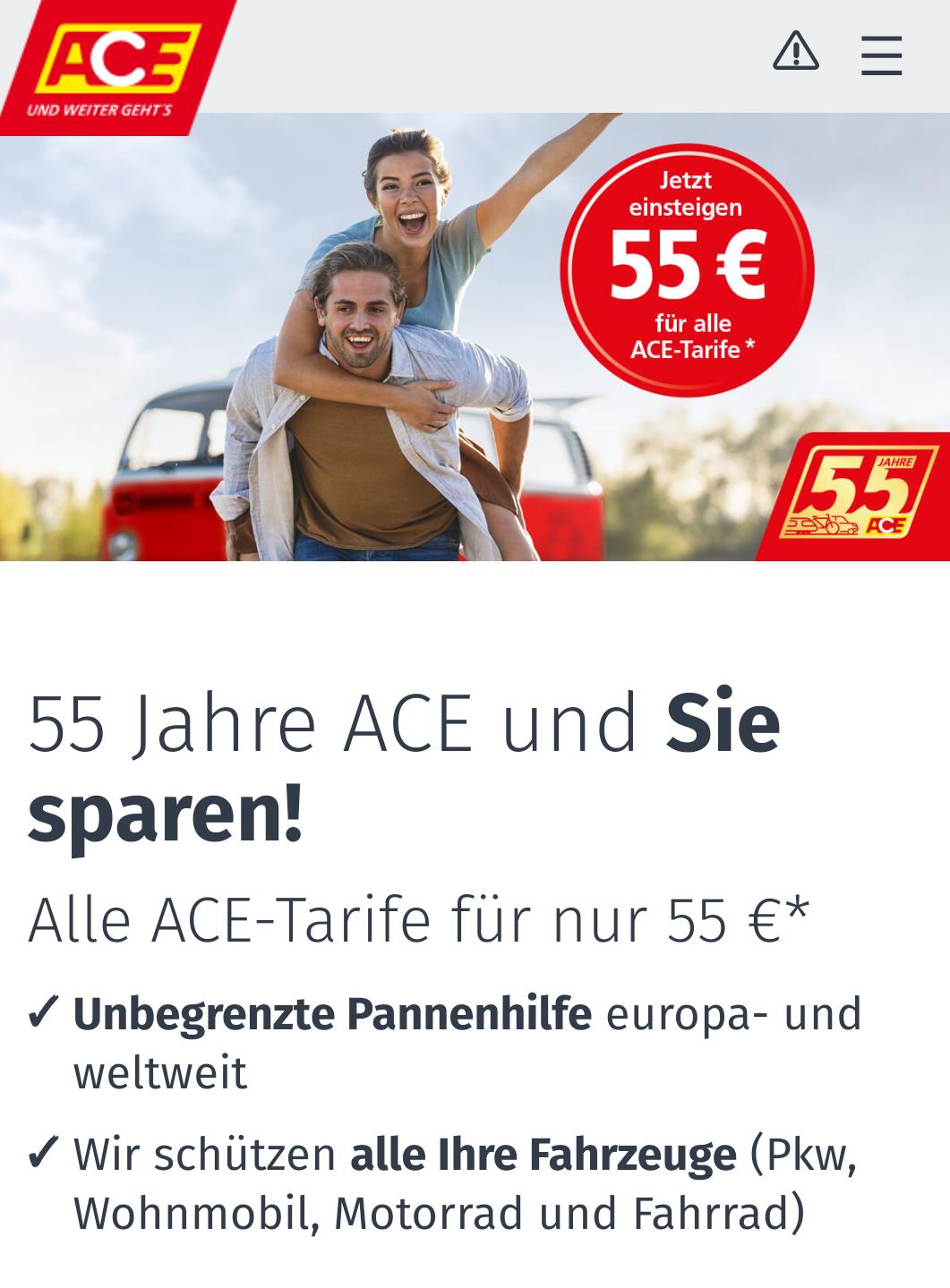 Automobilclub ACE 1. Jahr Premiumtarif