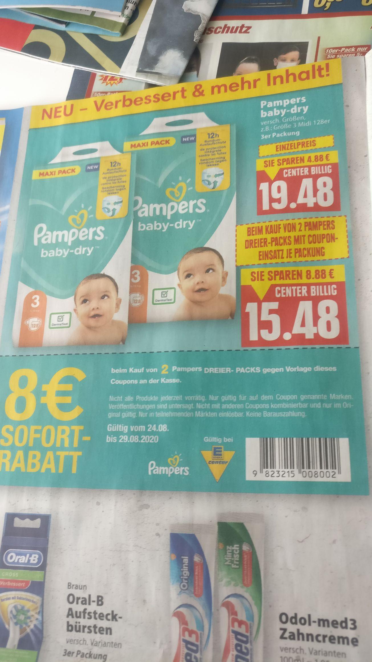 Pampers , verschiedene Größen Maxi Pack . Beim Kauf von 2 Maxi Packs ergibt sich durch den Coupon ein Preis von 15,48 Euro pro Packung