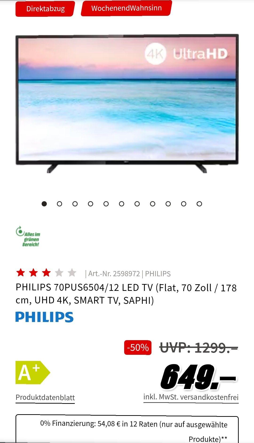 PHILIPS 70PUS6504/12 LED TV (Flat, 70 Zoll / 178 cm, UHD 4K, SMART TV, SAPHI)