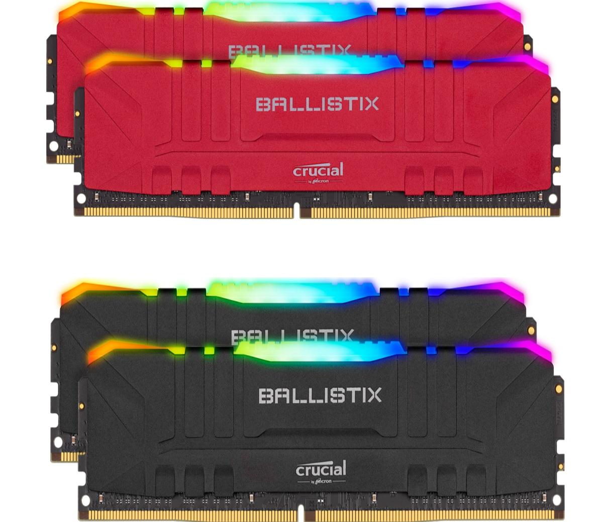 Kit Memory DDR4 Crucial Ballistix RGB 16 GB (2 x 8 GB) - 3600 MHz, CL16 Schwarz oder Rot (Crucial Store) GUTSCHEINCODE