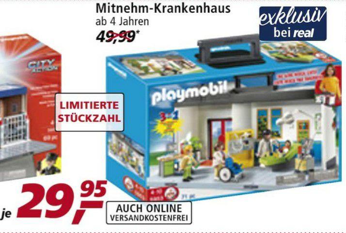 """[Lokal und Online] real Playmobil Mitnehm-Krankenhaus 5953 (""""exklusiv bei real"""") ab Mo, 24.08."""