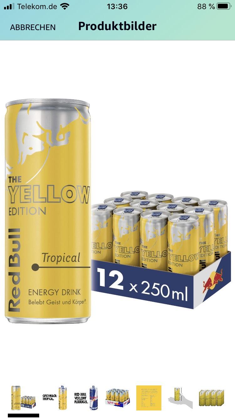 [Amazon Prime] Red Bull Energy Drink Tropical Dosen Getränke Yellow Edition 12er Palette, EINWEG (12 x 250 ml)